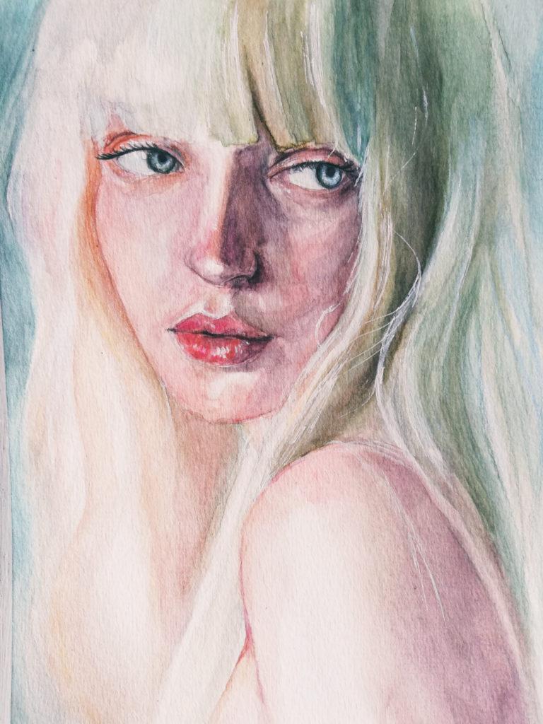 portret akwarele Xenia Lau