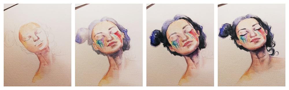 autoportret akwarele etapy