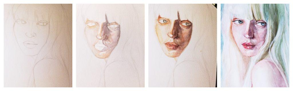 akwarele etapy portretu