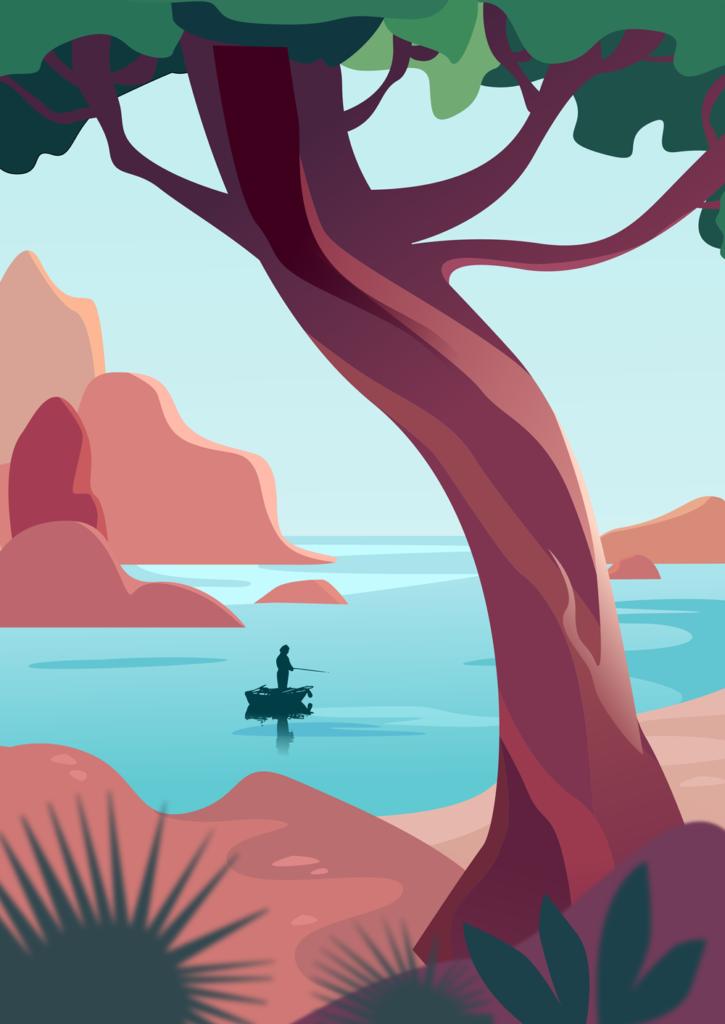 wektorowy obraz jeziora